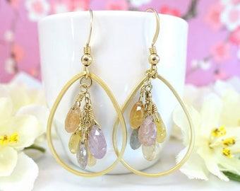 Gold tear drop rainbow sapphire drop hoop earrings, boho chic peach yellow sapphire hoop earrings