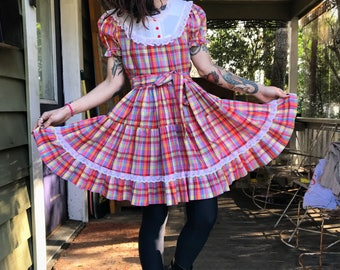 Vintage 1950's Rainbow Plaid Swing Dress size small