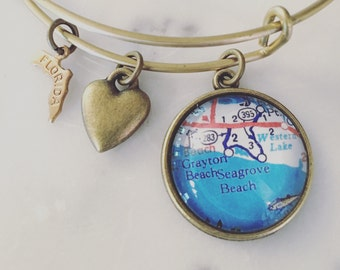 Seagrove Beach Florida Map Charm Bracelet - Personalized Map Jewelry - Seaside - Emerald Coast - Travel - Wanderlust - Vacation