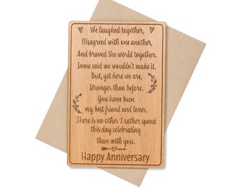 5 Year Anniversary Gifts for Men. 5th Anniversary Card. Wood Card Anniversary Gifts for Him, for Her, for Husband.