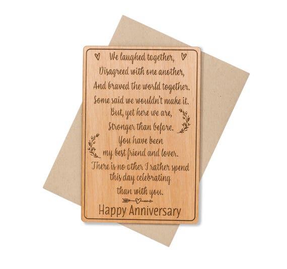 Anniversary Gifts For Men: 5 Year Anniversary Gifts For Men. 5th Anniversary Card. Wood