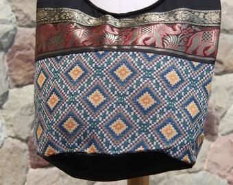 Blue Bohemian Crossbody bag  Woven Hobo Bag  Elephants Ribbon Shoulder Bag  Boho Sling Bag     Tribal Cross-body bag  Elephant sling bag