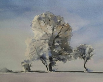 Landscape Painting, Winter Landscape, Snowy Landscape, Original Watercolor