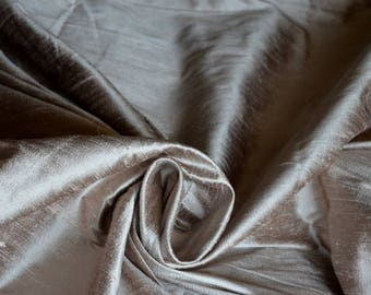 Dark Champagne pink with brown - Pure Indian Silk Dupioni - DEX 323 - Half yard
