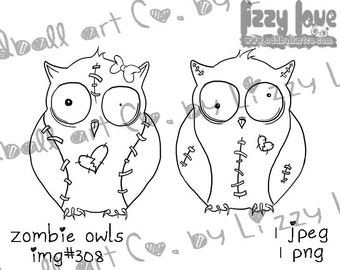 INSTANT DOWNLOAD Digital Stamp Creepy Cute Big Eye His and Hers Zombie Owls  Image No.308 by Lizzy Love