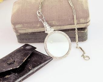 Antique Lorngette | Sterling Silver Lorngette | Antique Opera Glasses | Edwardian Glasses | Antique Magnifier