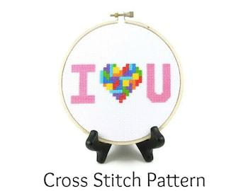 Tetris Heart - I Love You Cross Stitch Pattern