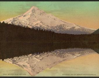 Mt. Hood from Lost Lake 1900. Vintage photo postcard reprint 8x10-up. Mountains Lakes & ponds Oregon Hood, Mount Oregon Hood River County