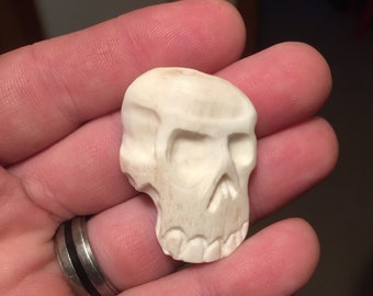 OOAK Skull Pendant Carved Cow Bone