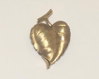 Vintage 1950's-60's Crown Trifari heart shaped leaf brooch gold tone