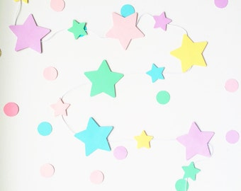 1 meter big and small stars garland - custom colours
