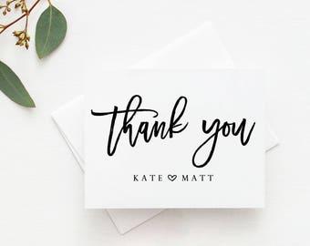 Custom Wedding Thank You Cards. Personalized Wedding Thank You Cards. Couples Shower Thank You Cards. Personalized Bridal Shower Cards.