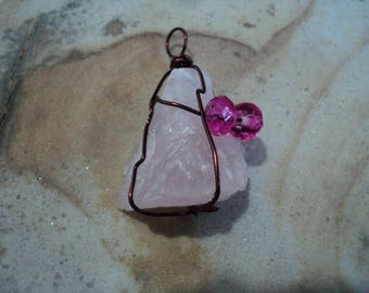 Pendant Rose Quartz in Brown Twist Wire Wrap with Pink Bead  (956)