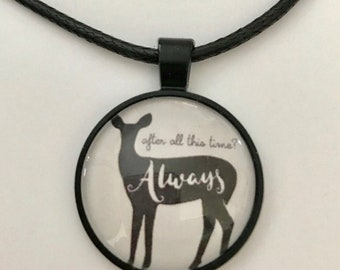 Harry Potter inspired Always Necklace on Faux Leather Cord