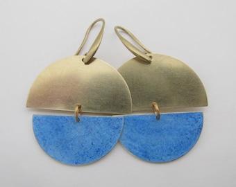 Brass Geometric Boho Earrings - Blue