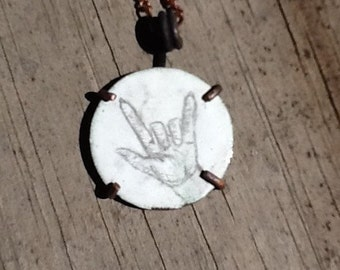 """Human Hand Illustration """"I Love You"""" Sign ASL Drawing on White Enameled Copper Disk 22mm 7/8"""" Oxidized Copper Pendant Necklace"""