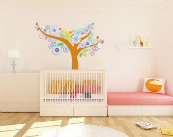 Kids tree vinyl wall decal Floral with leaves great for any nursery