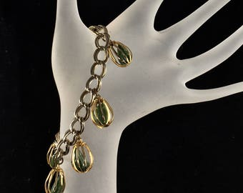 Vintage Bracelet ~ 1960's 1970's Boho Look ~ Jewelry ~ Natural Green Stones ~ Gold Toned Metal ~  Gift ~ 7 1/2 Inches ~ Retro