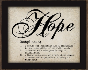 Definition HOPE Text Typewriter Words Sayings Vintage Inspired Wall Art Digital Graphic Wall Digital Download Decor INSTANT DOWNLOAD #2258