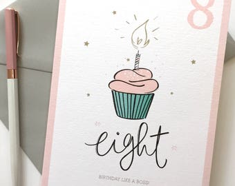 8th Birthday Card - Birthday Like A Boss - Eight - Children's Birthday Card