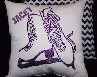 Personalized girls ICE SKATES figure skating pillow with non flaking glitter blades printed in metal silver. ice skating winter sports