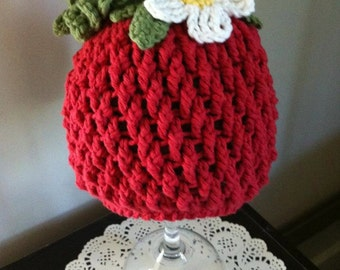 Crochet Pattern for Berrylicious Strawberry Beanie Hat - 6 sizes, baby to adult - Welcome to sell finished items