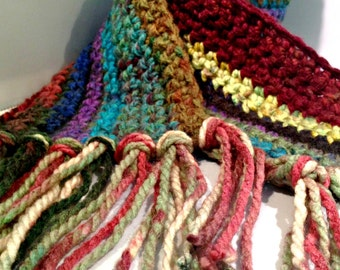 Thick and Chunky Jewel Tone Hand Crocheted Orphan Scarf