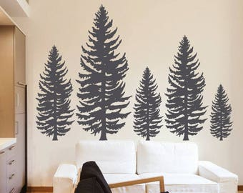 Pine Tree Wall Decal - Pine Forest Wall Art - Vinyl Wall Stickers Art Home Decor