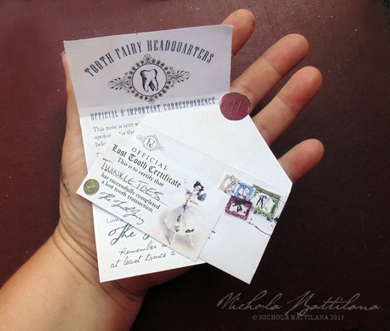 Miniature tooth fairy letter pdf collage sheet download thank for Fairy letter ideas