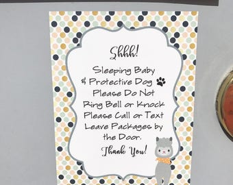 Shh Baby Sleeping Sign, Baby, Door Sign, Baby Shower Gift, Sleeping Sign, Protective Dog Sign, Front Door Magnet