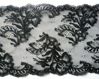 Beautiful black galloon lace. Non Stretch. 135mm/ 5.25 inches wide