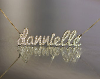 Diamond Name Necklace, 14k Name Necklace, Solid Gold Name Necklace, Custom Name Necklace, Diamonds Name, Personalized Diamond Necklace