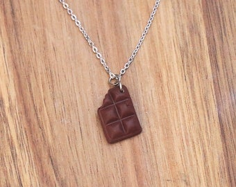 Chocolate Bar Necklace, Food jewelry - Candy necklace - Miniature Food Jewelry, Kawaii Jewelry, Birthday Gift