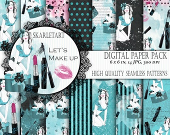Fashion Paper Pack Digital Scrapbook Printable Background Blog Theme Paper Pack Girl Illustration Planner Fashion Girl  MakeUp Gift Box