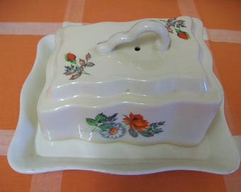 Antique 1920s-1930s, Art Deco, Ivory, England Butter Dish, Awesome