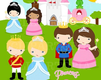 Knights and Princess Digital Clipart /Pretty Little Princesses Clipart for personal and commercial use/ Instant Download