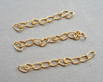 200 pcs of 4.5-5cm Long x 3mm wide Exquisite Gold Tail Chain