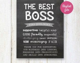 De beste baas gave schoolbord teken - nummer één baas cadeau - waardering gift - afdrukbare digitale poster