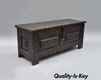 Vintage Spanish Renaissance Revival Gothic Style Wooden Trunk Blanket Chest 36""