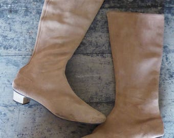Battani, 1960's, boots beige suede, knee high boots,