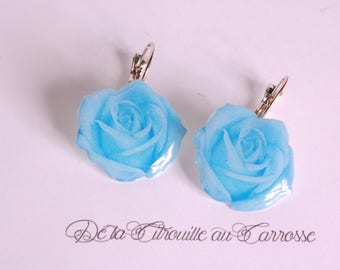 Blue rose earrings, blue flower earrings