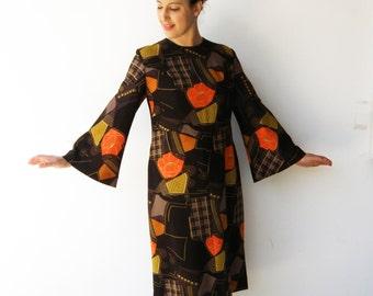Vintage Novelty Dress / 1970s Brown Midi Dress / Size L