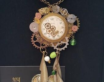 Steampunk Inspired Statement Dreamcatcher Necklace