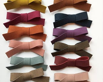 You Choose Color Faux Suede Bow on Nylon Headbands or Hair Clips Baby Toddler Kids