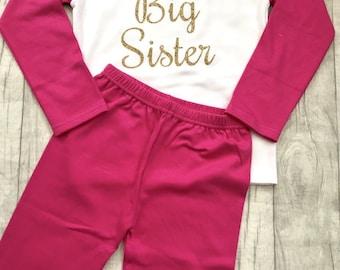 Girl's Big Sister Hot Pink & White Pyjama Set (Top and Pants), Sisters Newborn Love Gift Present Cute Family Princess