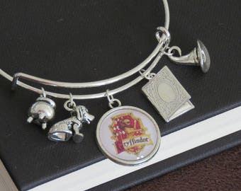 Harry Potter Gryffindor Themed Charm Bangle Bracelet With Book of Secrets and House Patronus