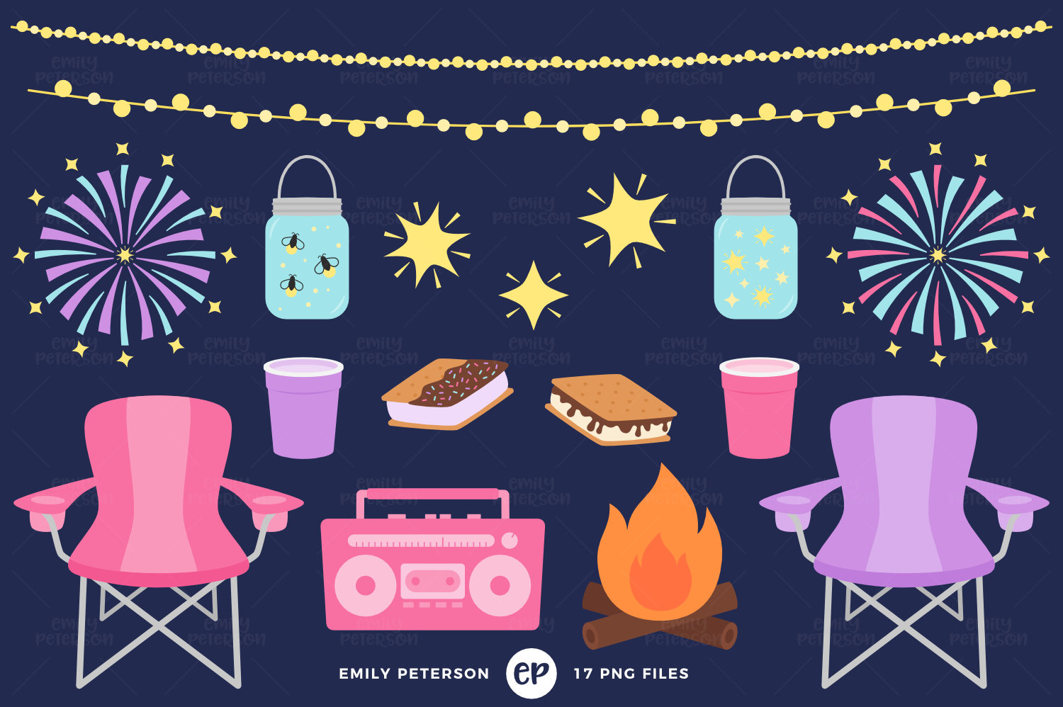 50% OFF SALE Summer Clip Art Starry Night Clipart Camping