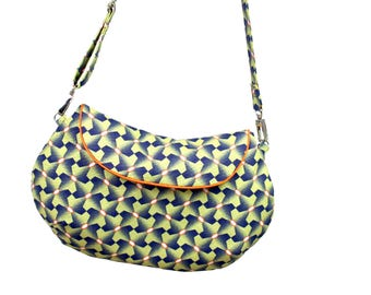 Bag, clutch, vegan clutch with carrier, gemometrisches pattern, yellow, blue, round bag, handbag, evening bag, shoulder bag