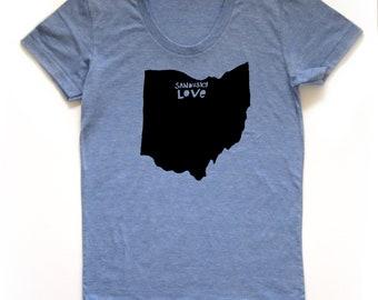 sandusky ohio shirt, sandusky love tshirt, graphic t, state pride, woman fashion t, ohio tshirt, screen print, silkscreen, free shipping