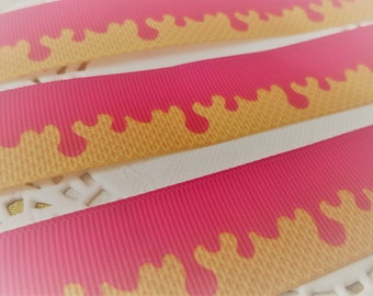 3 Yards of Dripping Ice Cream Ribbon by the yard-For hairbows, headbands, hairties, gift wrapping, Dresses, Key Chains, scrapbooking & more!